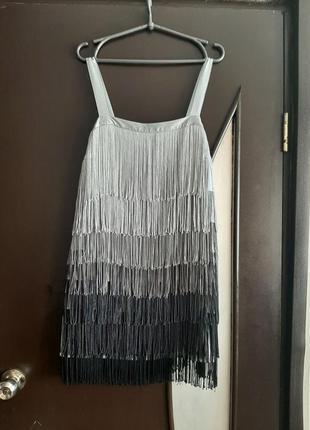Шикарное платье черное с бахромой для танцев в стиле гетсби миди 46 размера бренда atmosphere
