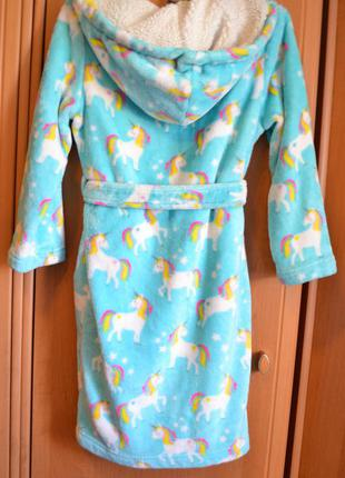 Теплый халат на девочку 9-10 лет, халат единорг