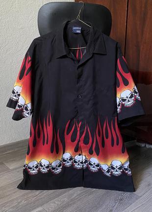 Рубашка огонь черепа