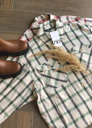 Жіноча куртка-сорочка в клітинку zara, розмір s