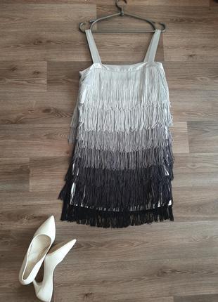 Шикарное платье черное с бахромой в стиле гетсби миди 46 размера бренда atmosphere для танцев