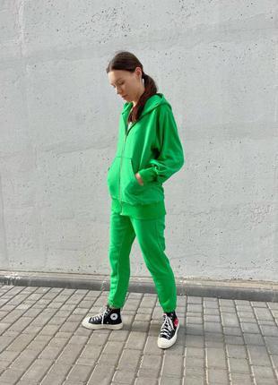 Спортивный костюм на молнии коттон - зеленый