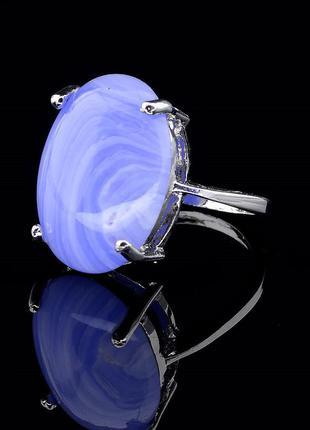 Новое кольцо из натурального голубого агата, размер 19