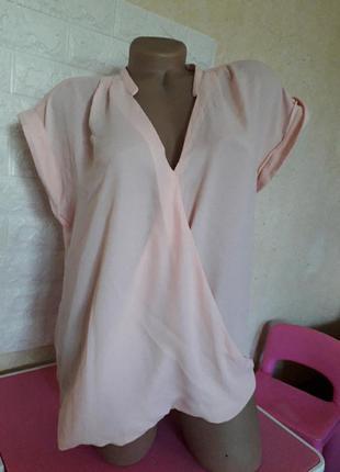 Нежная кремовая блуза на запах р 50-52