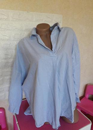 Красивая рубашка туника батал в полоску летучая мышь oversize р 54-58