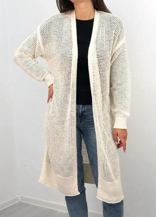 Женский белый вязаний кардиган на осень universal thread