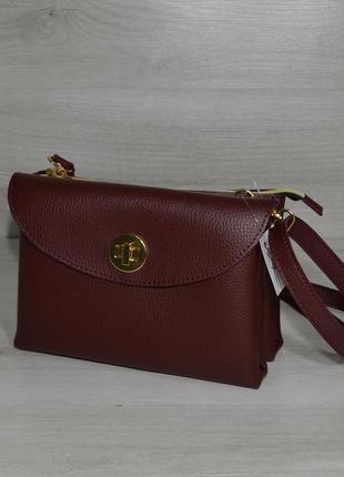 Бордовая маленькая сумочка кроссбоди матовый женский клатч на плечо