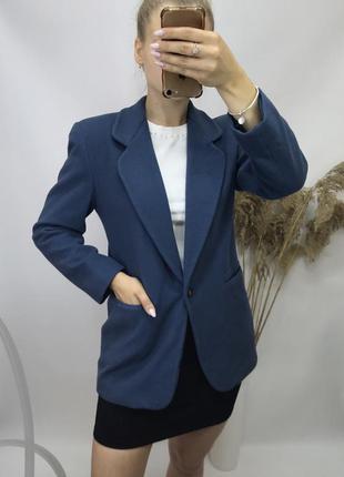 Винтажный утеплённый пиджак кашемировый  пальто  жакет морской