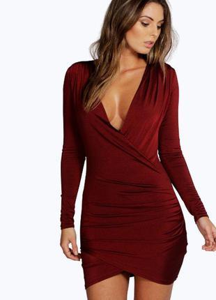 Крутое бордовое платье от boohoo