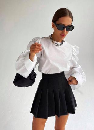 Черная мини юбка тенниска со сборкой школьная форма