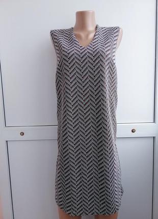 Платье женское чёрное белое коричневое принт короткое