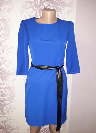 Платье синее с черным поясом