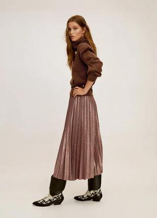 Шикарная плиссированная юбка-миди в клетку с напылением mango как asos h&m zara как новая