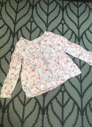 Рубашка в цветочный принт на девочку 3-4 года h&m