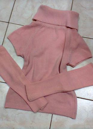 Розовый гольф- свитер со съемными рукавами .шерсть.