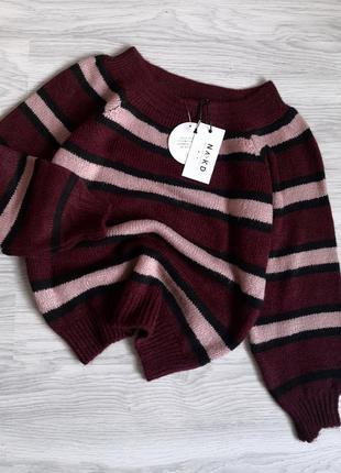 Бордовый базовый тёплый свитер в полоску