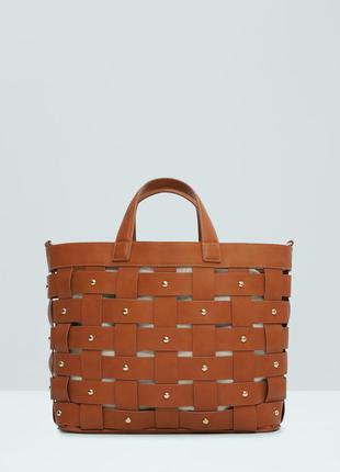 Сумка  шоппер плетеная манго