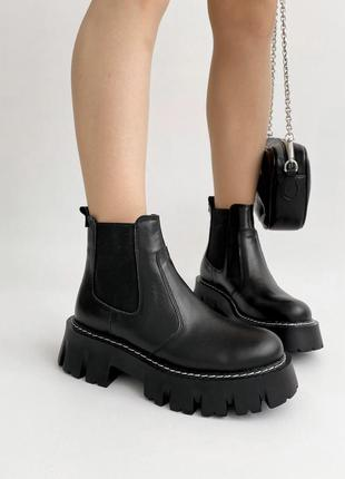 Чёрные ботинки челси из натуральной кожи