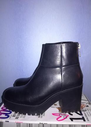 Стильные ботиночки натуральная кожа zara