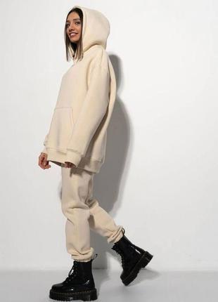 Костюм спортивный женский на флисе теплый толстовка худи с капюшоном и штаны джоггеры разные цвета