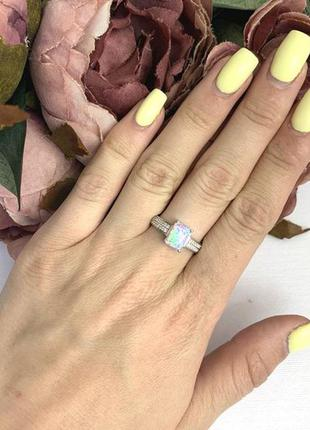 Новое серебряное кольцо с натуральным опалом, серебро 925 проба, 16.5,17,17.5,18