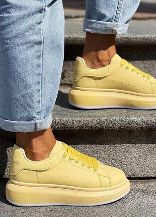 Кроссовки желтые женские кожаные кожа экокожа