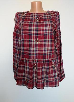 Блуза-рубашка в клетку , с вышивкой.  new look