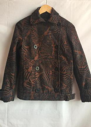 Укорочённый пиджак desigual,шерсть шелк, винтаж