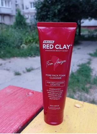 Глиняная пенка-маска missha amazon red clay pore pack foam cleanser 120 ml