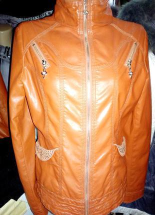 Новая винил. рыжая(в реале красивый рыжий)куртка l