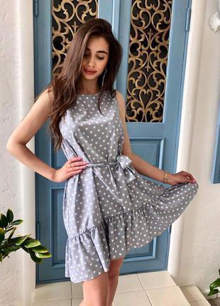 🔥 легкое платье - сарафан с поясом без рукавов в горошек розовое, голубое