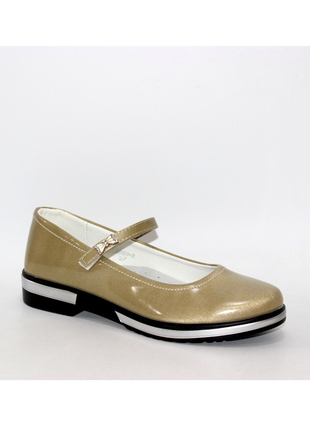 Подростковые золотистые туфли для девочки стелька кожа