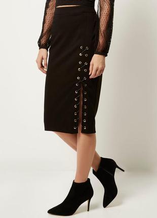 Базовая юбка миди со шнуровкой как h&m  asos zara .новая