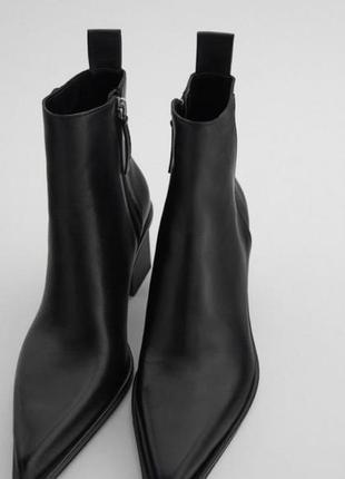 Кожаные ботинки на каблучке zara размер 39