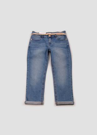 Капри голубые джинсовые с карманами и ремнем camaieu