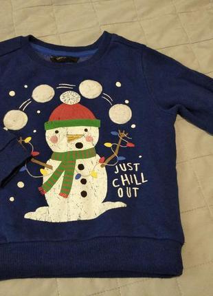 Теплая кофта мальчику со снеговиком на 2-3 года