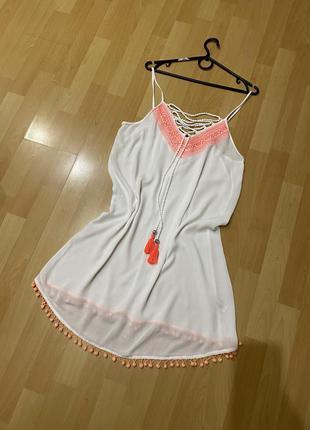 Белая пляжная туника платье вискоза, туника на купальник