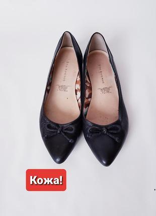 Кожаные балетки туфли на низком каблуке 5th avenue 36