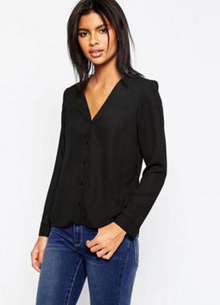 Черная шифоновая блуза asos