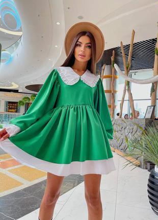 Платье короткое мини приталенное с манжетами объёмными рукавами фонариками объёмное