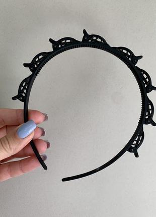 Обруч с зажимами, ободок с заколками черный женский каучук, обруч с заколками крабик