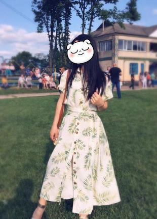H&m платье h&m  платье рубашка платье в принт зелёные листья