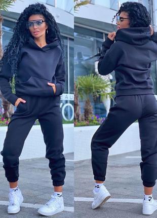 Костюм женский на флисе худи штаны спортивные
