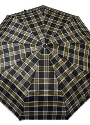 Зонт унисекс полный автомат хаки графит зонтик клетка
