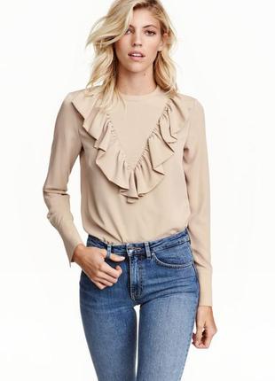 Бежевая блузка , нюдовая блуза h&m