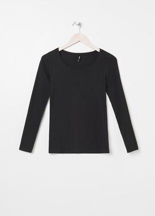 Новая базовая однотонная облегающая черная кофта лонгслив блузка xxs s m l