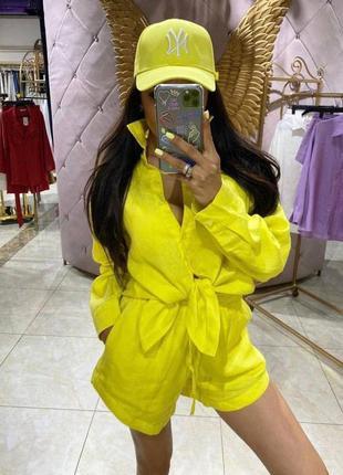 Льняной желтый свободный костюм рубашка оверсайз и шорты лён