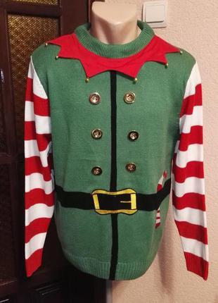 Свитер новогодний эльф мужской зеленый размер м (46-48размер) от christmas workshop