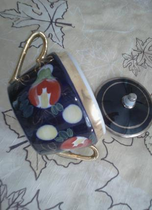 Сахарница цукерниця  кобальт кобальтовая  с позолотой винтаж редкая с двумя ручками ссср
