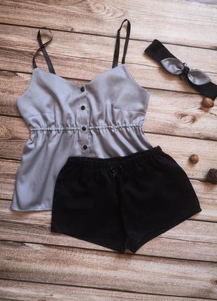 Сатиновая пижамка, красивая хлопковая пижама, сатинова піжамка, пижамные шорты